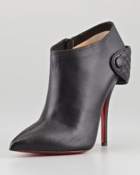 Christian Louboutin Huguette Leather Ankle Boot Black - Lyst