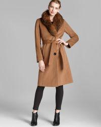 Ellen Tracy - Coat Fox Fur Collar Belted - Lyst