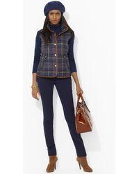Lauren by Ralph Lauren Leathertrimmed Plaid Vest - Blue