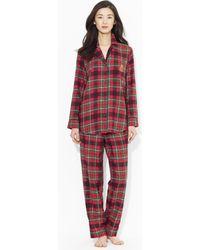 Lauren by Ralph Lauren Plaid Cotton Pyjama Set - Red