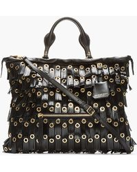 Burberry Prorsum - Black Patent Leather Fringed Grommet Tote - Lyst