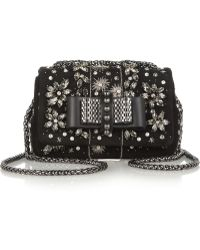 Christian Louboutin Sweet Charity Mini Embellished Suede Shoulder Bag - Lyst