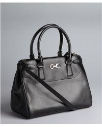 Ferragamo Black Crosshatched Leather Gancini Detail Convertible Batik Top Handle Tote - Lyst