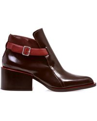 Jil Sander Buckle Detail Leather Ankle Boots - Red