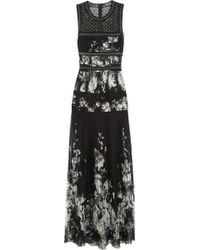 Roberto Cavalli Embellished Leather-Trimmed Silk-Chiffon Gown - Lyst
