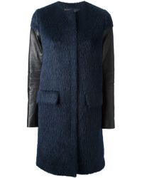 D.Efect - Leather Sleeve Coat - Lyst
