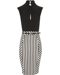 Jane Norman Twist Neck Stripe Dress - Black