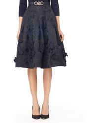 Oscar de la Renta Full Skirt with Embroidered Flowers - Lyst