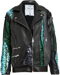 Filles A Papa - Sequin Embellished Leather and Suede Jacket - Lyst