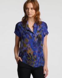 Halston Short Sleeve Printed Shirt - Blue