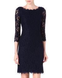 Diane Von Furstenberg Zarita Long Lace Dress Navy - Lyst