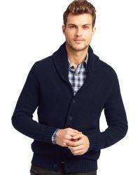Kenneth Cole Long Sleeve Shawl Collar Cardigan Sweater - Blue