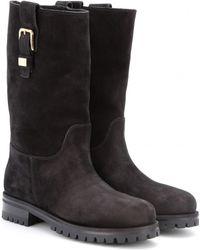 Dolce & Gabbana Shearlinglined Suede Biker Boots - Lyst