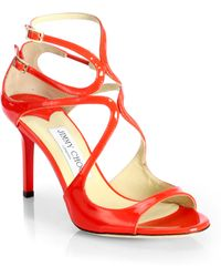 Jimmy Choo Ivette Strappy Patent Leather Sandals - Lyst