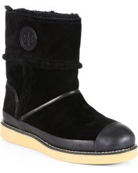 Tory Burch Nadine Shearlinglined Leather Midcalf Boots - Black