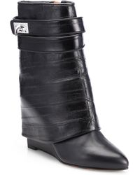 Givenchy Eel Skin Leather Sharklock Wedge Boots - Lyst