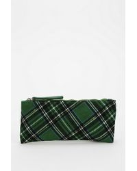 Urban Outfitters Cooperative Plaid Pencil Case - Green