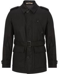 Aquascutum Belted Raincoat - Black