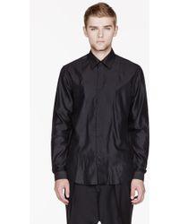 Mugler   Black Glossy Bib Shirt   Lyst