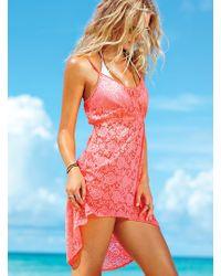 Victoria's Secret Lace High-low Cover-up - Lyst