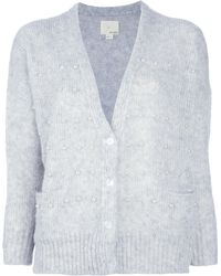 Girl by Band of Outsiders - Studded Vneck Cardigan - Lyst
