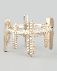 Eddie Borgo Brushed Trinity Cross Ring Silver - Metallic
