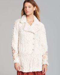 Free People Coat Faux Fur Embellished Swing - White