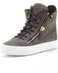 Giuseppe Zanotti High-Top Crystal Zip Sneaker - Lyst
