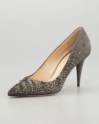 Giuseppe Zanotti Suede Crystal-Embellished Pump - Lyst