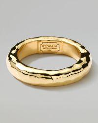 Ippolita 18k Gold Shiny Thick Hammered Ring - Metallic