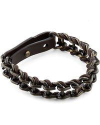 Lanvin - Leather and Metal Chain Bracelet - Lyst