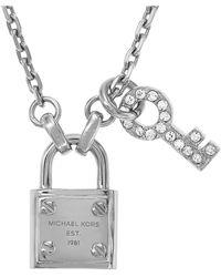 Michael Kors - Silvertone Lock Key Pendant Necklace - Lyst