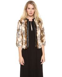 Twelfth Street Cynthia Vincent Leather Placket Faux Fur Jacket - Brown