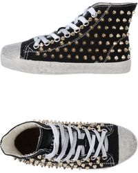 Gienchi Studded Cotton Canvas High Top Sneakers - Lyst