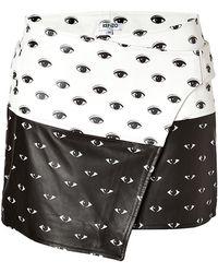 Kenzo Leather Eye Print Miniskirt - Lyst