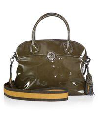 Longchamp Patent Leather Domed Satchel - Lyst