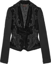 L'Wren Scott - Embellished Jersey Sleeved Velvet Jacket - Lyst
