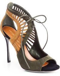 Sergio Rossi Suede Cutout Sandals - Lyst