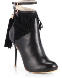 Sophia Webster Leather Suede Tassel Trimmed Ankle Boots - Lyst