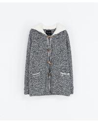 Zara Duffle Coat with Sheepskin Hood - Lyst