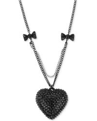 Betsey Johnson Blackplated Crystal Heart Pendant Necklace - Lyst