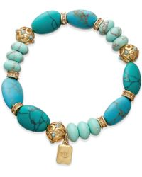 Lauren by Ralph Lauren - 14k Goldplated Reconstituted Turquoise Beaded Stretch Bracelet - Lyst