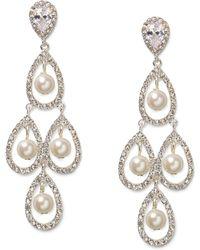 Lauren by Ralph Lauren - Silvertone Glass Pearl and Pave Teardrop Chandelier Earrings - Lyst