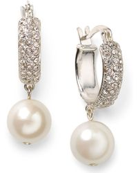 Lauren by Ralph Lauren - Silvertone Pave Crystal and Glass Pearl Hoop Earrings - Lyst