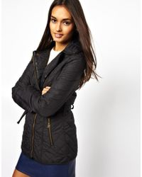 Lipsy - Quilted Belted Biker Jacket - Lyst