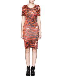 McQ by Alexander McQueen Floral Tiger Print Stretch Sheath Dress - Lyst
