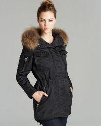 Sam. Parka Field Fur Trim Hooded - Black