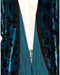 Winter Kate Printed Velvet Kimono Jacket - Blue