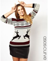 Asos Curve Sweater in Reindeer Fairisle - Lyst