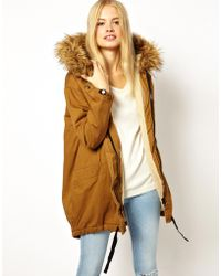 Asos Cocoon Parka With Oversized Faux Fur Trim Hood - Lyst